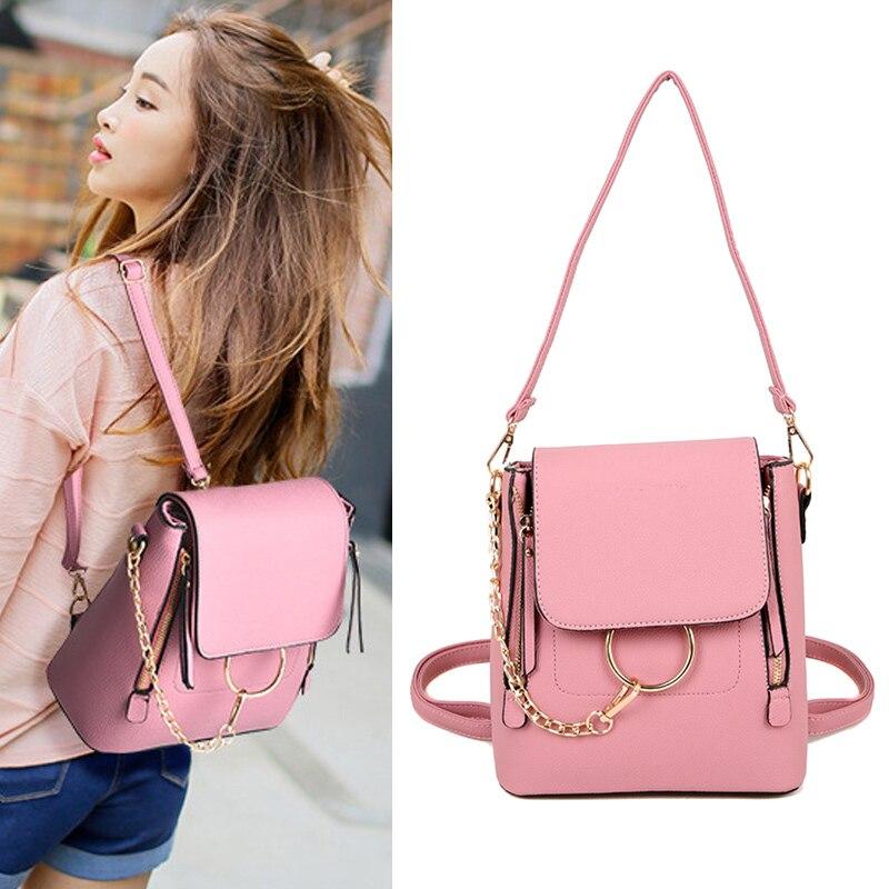 Women Mini Crossbody Bag Backpack Dual Use Lady Travel PU Leather Shoulder Bags Best Sale-WT