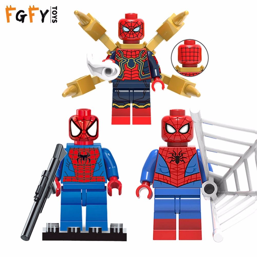 Marveled Avengers Super Heroes New Spider Man Compatible With Legoingly Building Blocks Spiderman Figure Brick Venom Toys Blocks