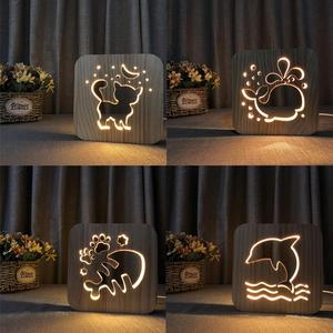 Image 4 - Wooden Dog Paw Cat Animal Night Light French Bulldog Luminaria 3D Lamp USB Powered Desk Lights For Baby Christmas New Year Gift