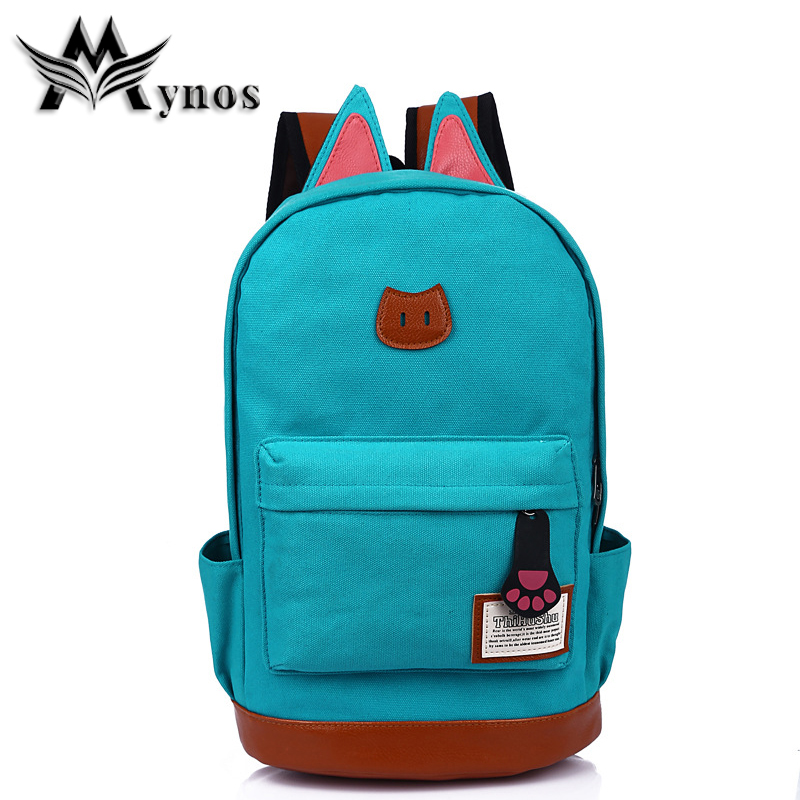 MYNOS Fashion Anime Canvas Leather Women Backpack Korea Cat Ears School Bags For Teenage Large Casual