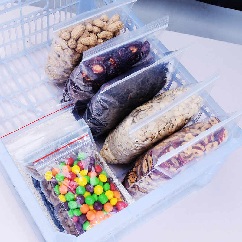 100Pcs Plastic Ziplock Bags Reusable Produce Bags Jewelry Ziplock Bag Food Package Fresh-keep Dustproof Grocery Bag Holder