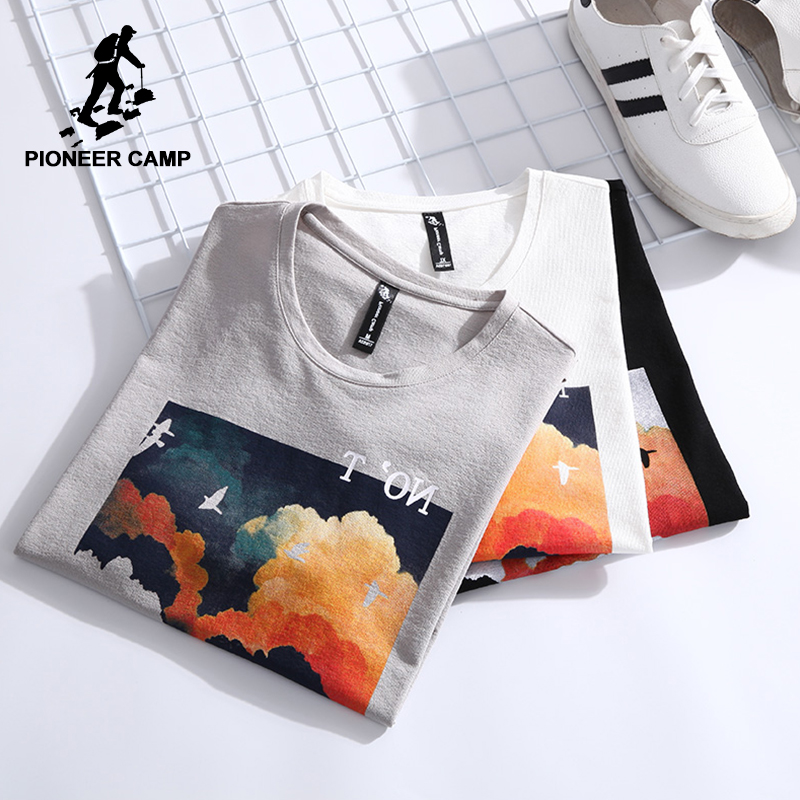 Pioneer Camp New Summer T Shirt Men Brand Clothing Fashion Printed Short Sleeve T-shirts Male Quality Cool Mens Tees ADT803141