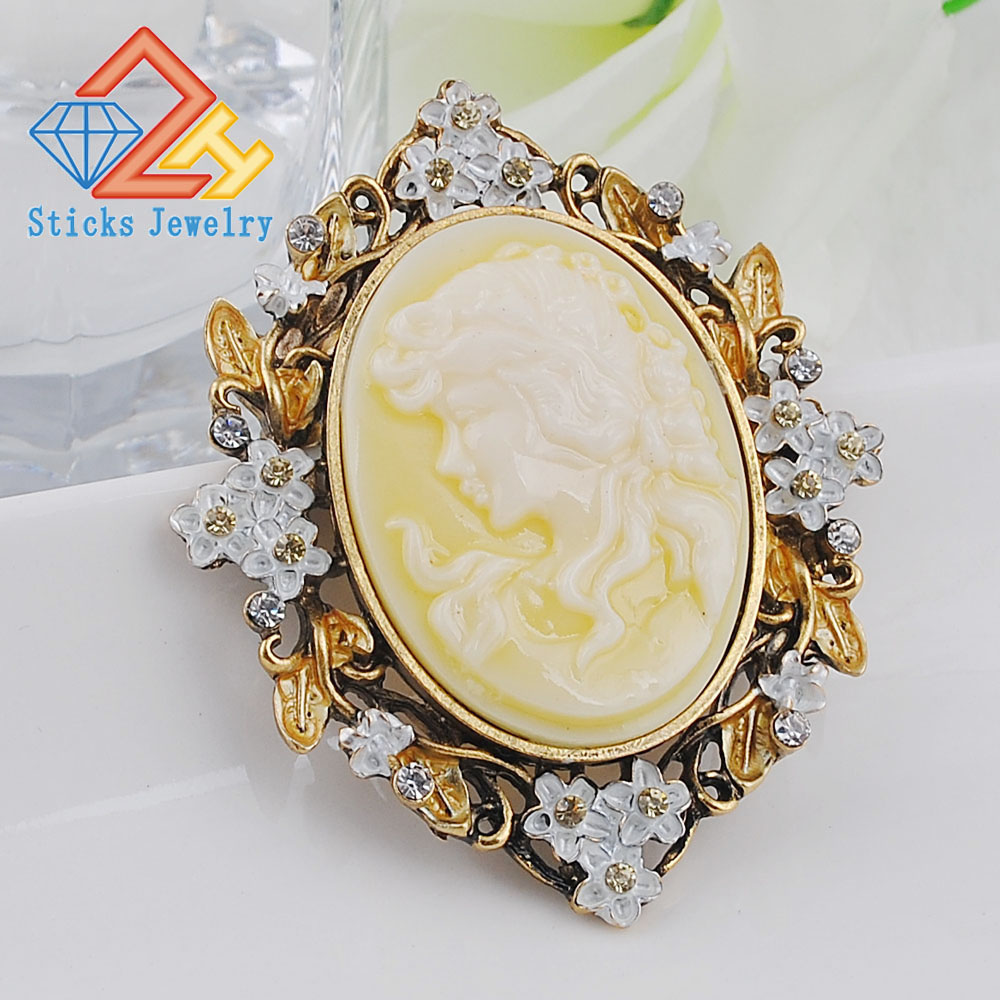 Beauty Head Brooches Classic Retro Style Yellow Head Beauty Accessories Beauty Queen Head Resin Brooch Free Shipping