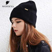 2018 new wool hats for winter women's autumn and winter Knitting hat black women's hats wild wool hats for winter woman Solid