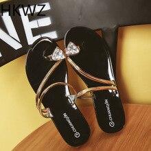 Summer brand new rhinestone toe Bling low-heeled word slip non-slip beach sandals hollow breathable fashion Roman sandals H0214 flat toe non slip roman beach sandals