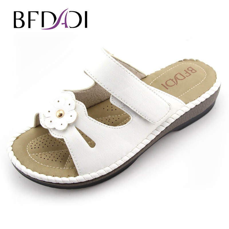 BFDADI 2016 Summer women wedges sandals  PU platform sandals Flower and Sewing Casual woman slippers beach shoes for woman 1801 phyanic 2017 gladiator sandals gold silver shoes woman summer platform wedges glitters creepers casual women shoes phy3323