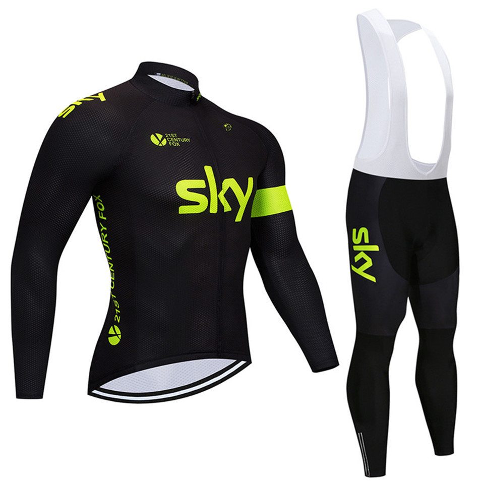 2017 cycling jersey sky long sleeve pro bike bib pants set Ropa Ciclismo mens cycle wear bicycle uniformes Maillot Sportwear цена