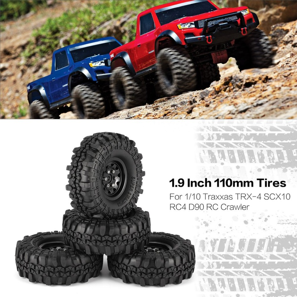 4Pcs 1.9 Inch 110mm Rubber Tires with Metal Wheel Rim Set for 1/10 Traxxas TRX-4 SCX10 RC4 D90 RC Crawler Car Toy Tire Part Accs mxfans rc 1 10 2 2 crawler car inflatable tires black alloy beadlock pack of 4
