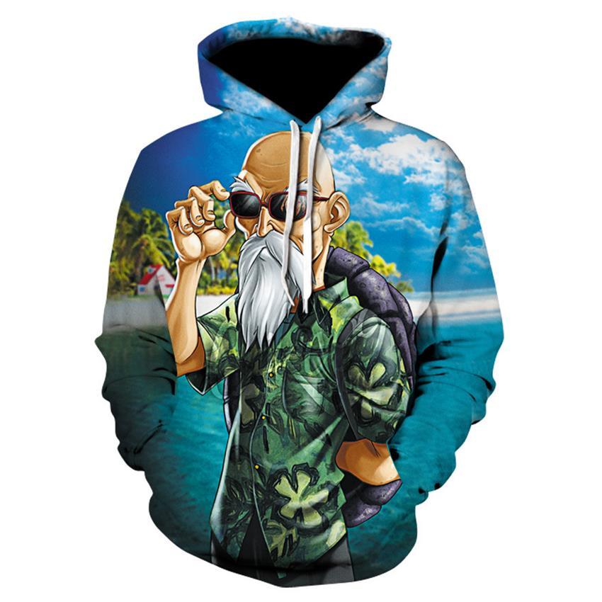Funny Master Roshi 3D Sweatshirts Men Autumn Winter Hipster Long Sleeve Hooded Hoody Men Women font