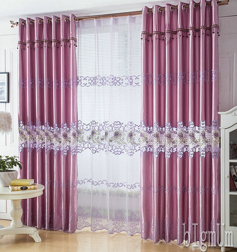 Luxury home Window Curtain For luxury Living Room/Bedrooms /Hotel White/ Golden/ Purple Home Furnishing/Treatment FreeShipping