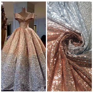 Image 2 - LASUI NEW 20 colors available 3MM encryption sequin gradient mesh lace fabric Evening dress show clothe Party dress fabric W0041