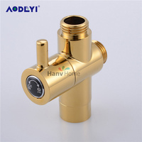 AODEYI 1/2'' PVD Ti Golden Shower Water Separator Brass Valve Core Gold T Adapter For Toilet Bidet Sprayer Jet Tap Tool