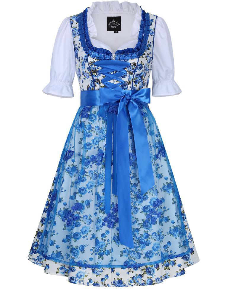 MISSKY Women's Oktoberfest Dress Floral Tie Layered Casual Dresses Suit for Oktoberfest Bavarian Dirndl for 1