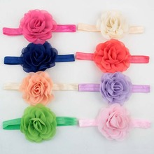 "20pcs/lot Girls 3"" Chiffon Flowers Kids Satin Chiffon Rosettes Rose Flower Headband For Hair Accessories"