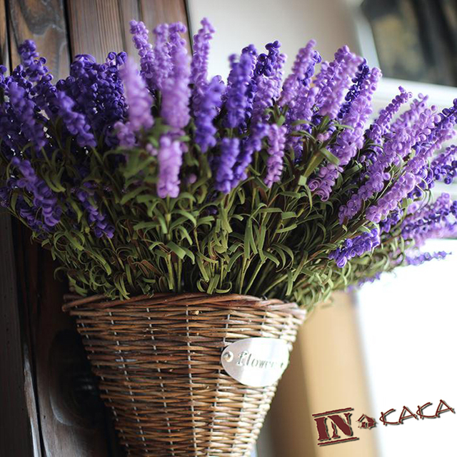 New Vintage Lavender Home Decor Real Touch Fabric Pe Artificial Flowers Plants For Decorations
