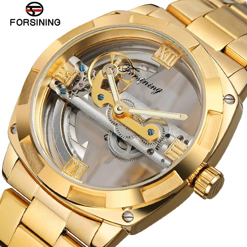 Forsining Stainless Steel Fashion Waterproof Automatic Watch Men Skeleton Watch Gold Mechanical Mens Watches Top Brand LuxuryForsining Stainless Steel Fashion Waterproof Automatic Watch Men Skeleton Watch Gold Mechanical Mens Watches Top Brand Luxury