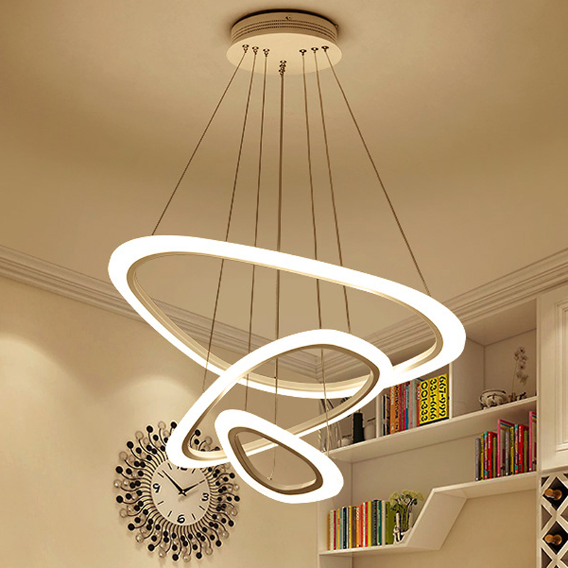 New Modern pendant lights for living room dining room 4/3/2/1 Circle Rings acrylic LED Lighting ceiling Lamp fixtures circle