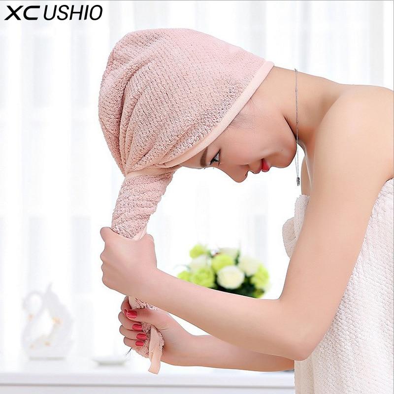 XC USHIO 1 पिस उच्च गुणवत्ता वाले छोटे / लंबे बालों के लिए माइक्रोफाइबर नरम बाल सूखी टोपी आरामदायक प्यारा समुद्र तट स्नान तौलिया पोशाक