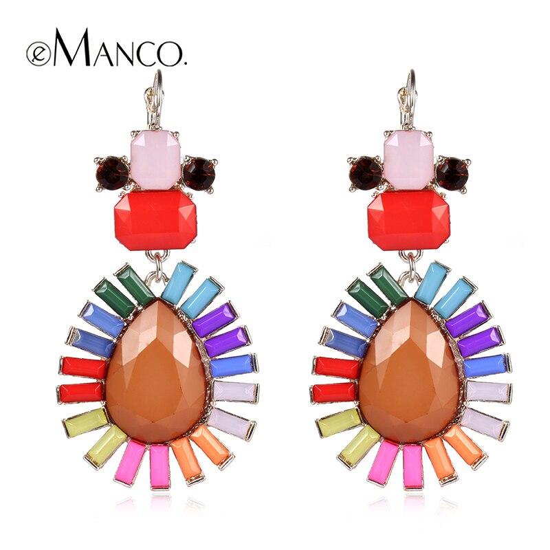 Spring earrings multicolor resin earrings for women eManco rhinestone earring 2016 new fashion jewelry earrings ER05581