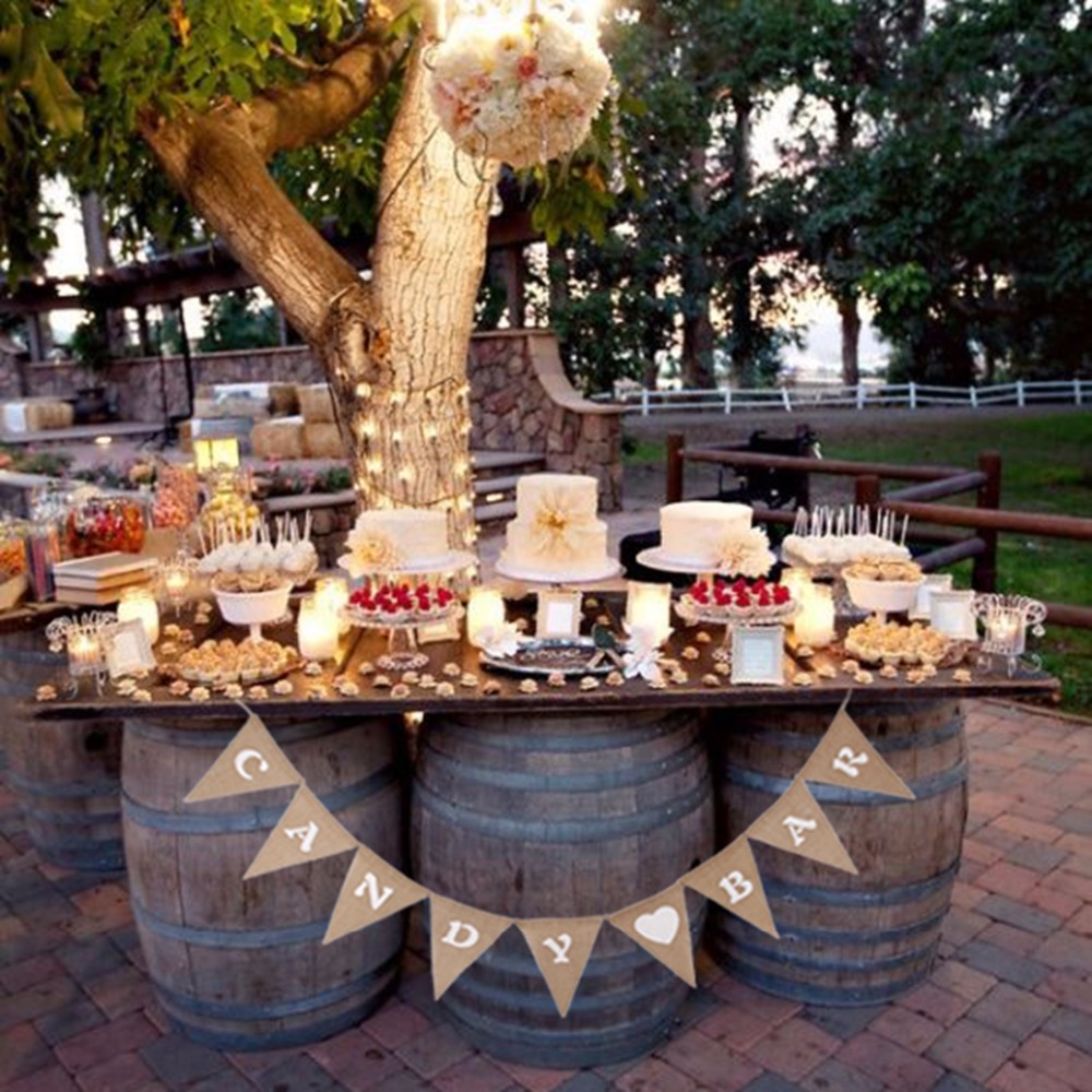 Candy Bar For Wedding Ideas: Rustic Candy Bar Garland Hessian Burlap Bunting Jute Rope