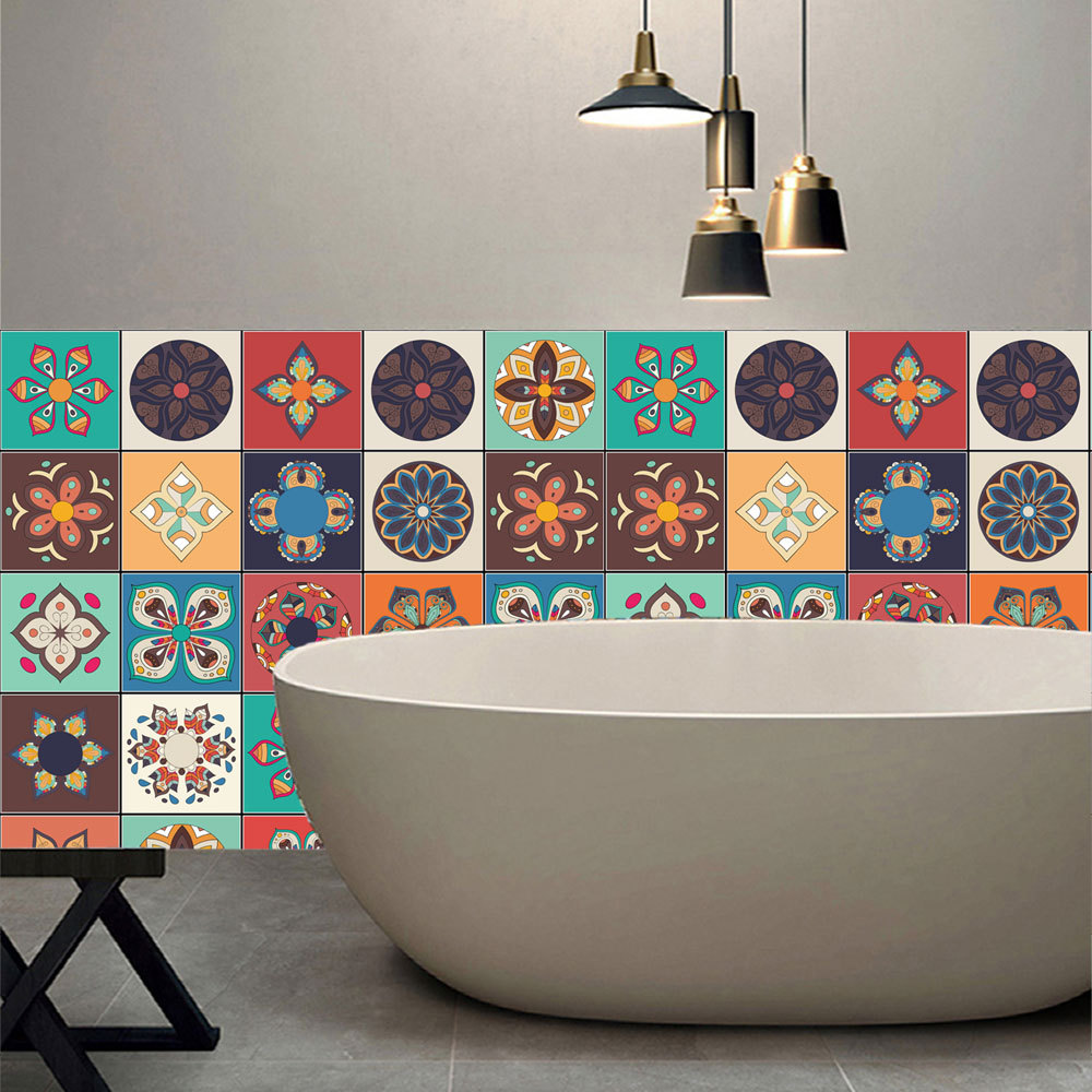 Peel And Stick Wallpaper In Bathroom: Yanqiao Peel And Stick Retro Tiles Sticker Wall Art Decal