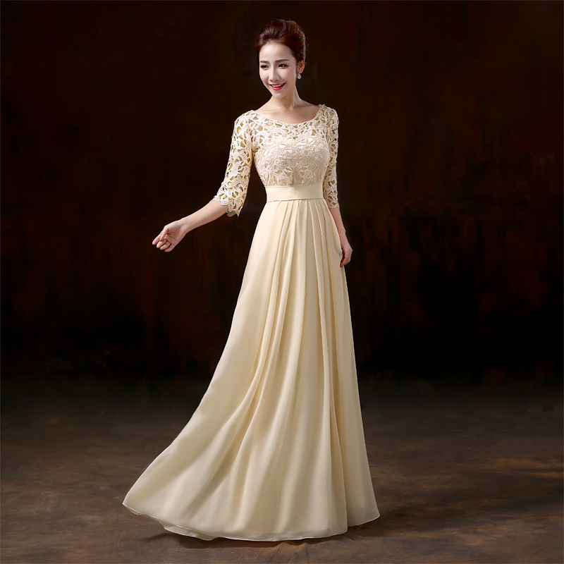 2017 New Half Sleeve Long Women Bridesmaid Dresses Formal Wedding Bride Prom Party Dress Color Blue Champagne Pink Red Beige In From
