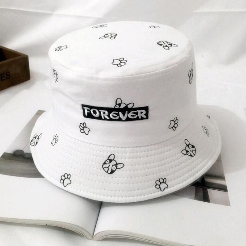 New Cute dog Pink Bucket Hats for Women print boonie Hats UV Protection bob Caps Fishing ...