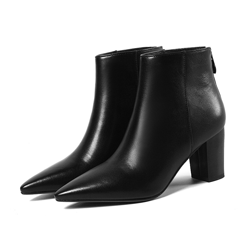 VANKARING women ankle boots platform genuine leather high heel female shoes short boot autumn winter boots women warm snow boots