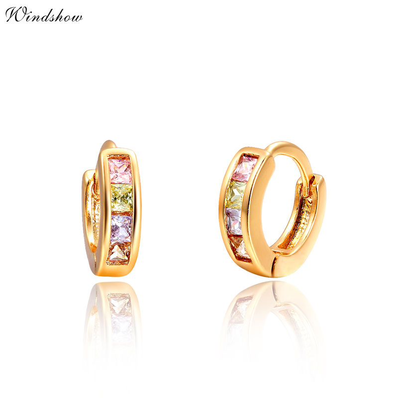 Gold Plated Channel Pave Princess Cut Multicolor Zircon Cz Hoop Earrings For Children S Baby Kids Anti Allergic Jewelry In From