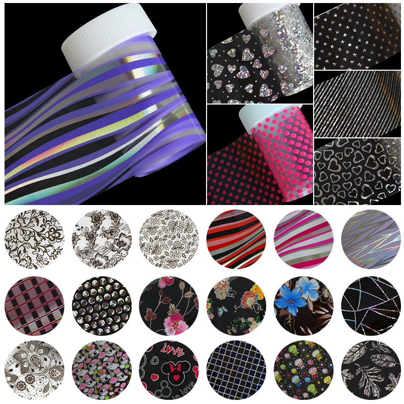 100*4cm 1 Roll Nail Art Stickers Decals Wraps Laser Purple Striped Nail Transfer Foil Manicure Tools Wholesale Retail B73 bluezoo 1 roll 5cm 120m blue nail stickers transfer foil full cover nail art stickers silver scenery decals nails tools for nail