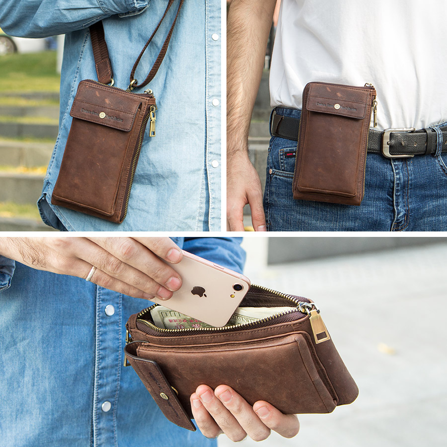 CONTACT'S genuine leather men shoulder bag for cell phone with card holders male vintage crossbody bag men's small waist packs 1