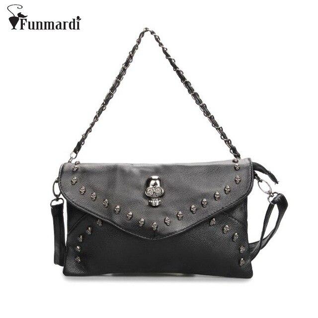New arrival Retro Skull design PU leather women bag Rivet chain bag famous messenger bag good quality Shoulder Bag WLHB1384