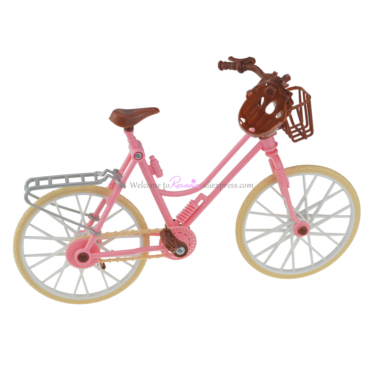 Fashion Beautiful Pink Bicycle Detachable Bike & Basket With Brown plastic helmet Toy Accessories for Barbie Dolls Accessories universal bike bicycle motorcycle helmet mount accessories