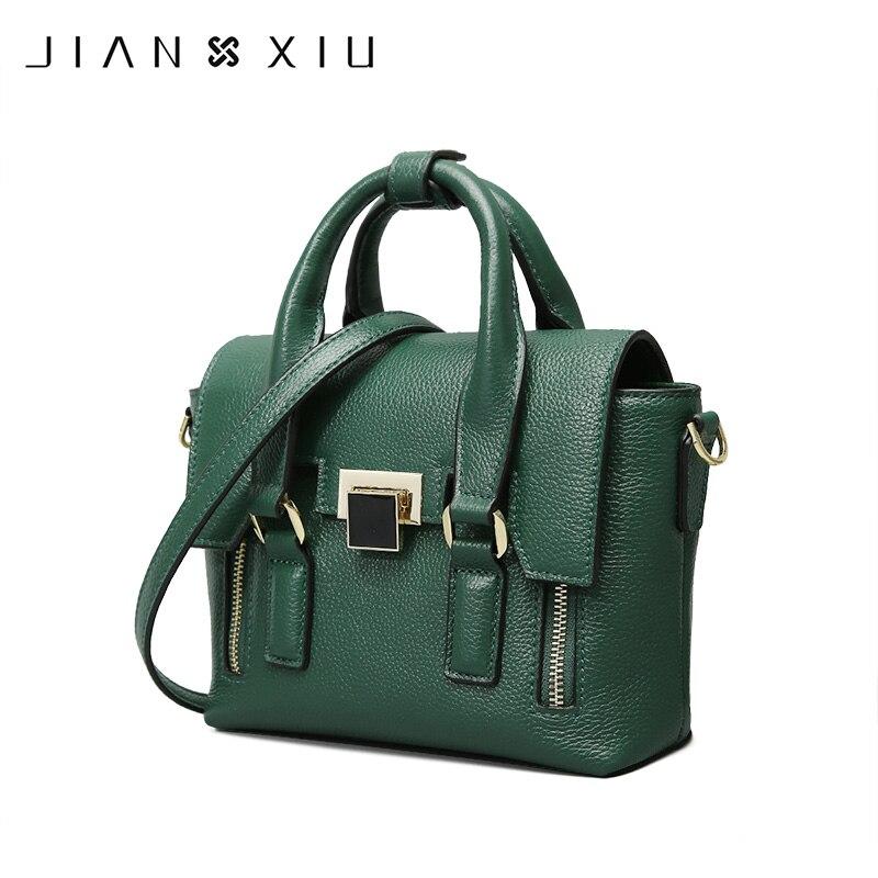 JIANXIU العلامة التجارية الأزياء جلد طبيعي أكياس Sac حقائب حقائب موهير Bolsas الأنثوية 2018 الكتف Crossbody حقيبة 2 الألوان-في حقائب الكتف من حقائب وأمتعة على  مجموعة 1