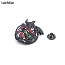 Patchfan How to train your dragon Night fury toothless Zinc tie Pins backpack clothes brooches for men women badges medal A1589