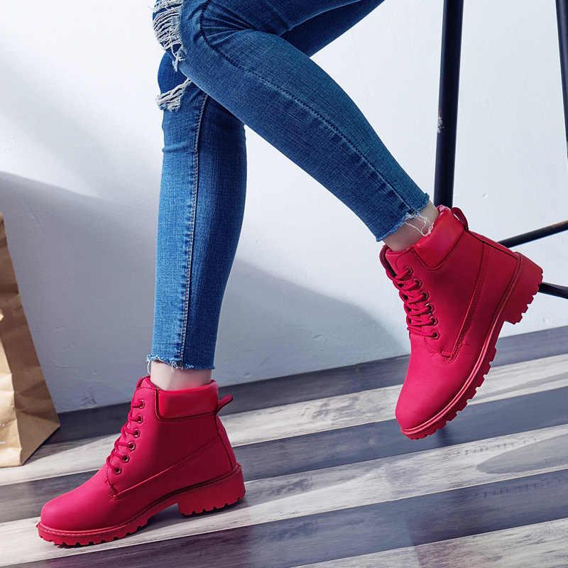 2018 kadın Kış Kürk Ayakkabı Marka Martin Çizmeler Kadın Sevimli kırmızı Botları Kaliteli iş çizmeleri Düz Topuk yarım çizmeler Kadınlar için