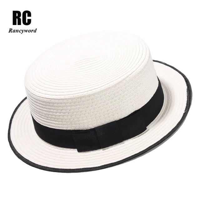63dfb8844 [Rancyword] Fashion Flat top Sun Hat Women's bow Straw summer Sun Hat For  Women Sea Beach hat Panama Cap Solid Straw Hat RC1070