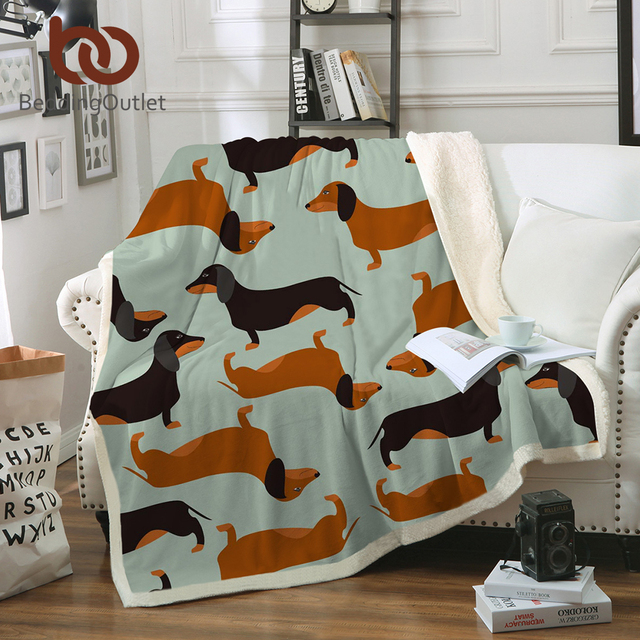 BeddingOutlet Dachshund Sausage Sherpa Blanket for Kids Adults Cartoon Colorful Plush Throw Blanket Sofa Dog Puppy Thin Quilt