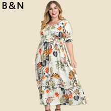 7XL Plus Size Large Dress Women Flower Long Summer Half Sleeve Clothing V Neck Print Fashion One Piece 5XL 6XL