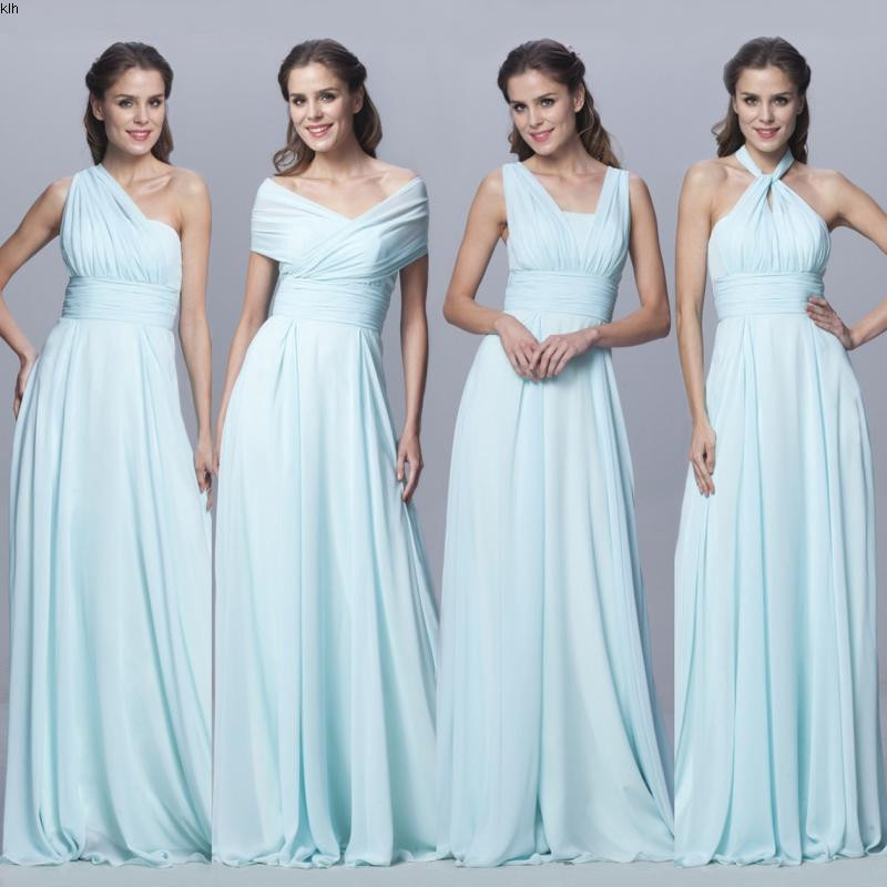 Custom Color Size Chiffon Long Convertible Bridesmaid Dresses Blue