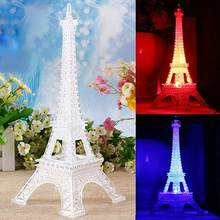 Eiffel Tower Light Colorful Nightlight Birthday Gift Decorative Button Lamp(China)