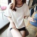 2016 ropa de las mujeres camisas de manga corta t shirt solid o-cuello poleras femme femininas camisetas de mujer t-shirt tumblr