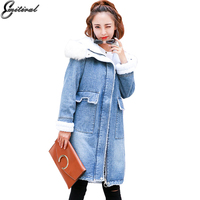 Emitiral 2017 Lange Winter Warm Fleece Hooded Katoen Denim Jassen Vrouwen Thicken Bontkraag Vrouwelijke Jassen Casual Dames Uitloper