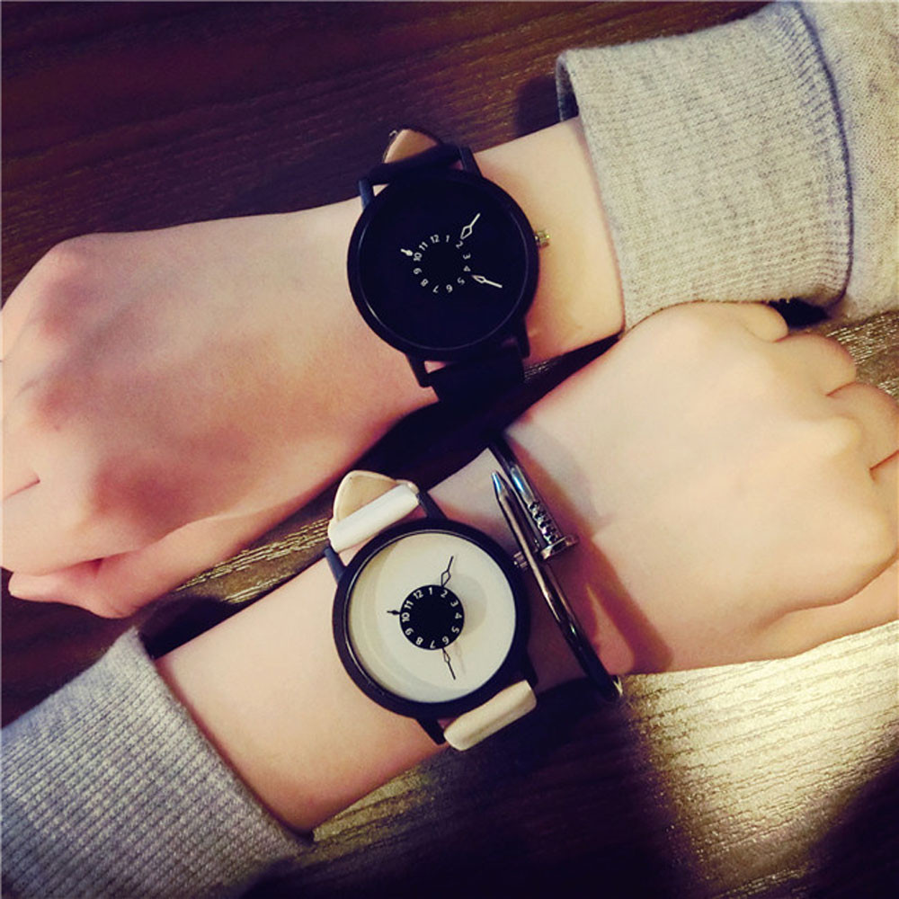 Hot fashion creative watches women men quartz-watch 2018 unique dial design lovers' watch leather wristwatches clock relogio 2016 new hot sale brand magic star black white analog quartz bracelet watch wristwatches for women girls men lovers op001