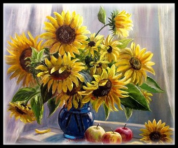 Needlework for embroidery DIY DMC High Quality - Counted Cross Stitch Kits 14 ct Oil painting - Sunflowers on the windowsill