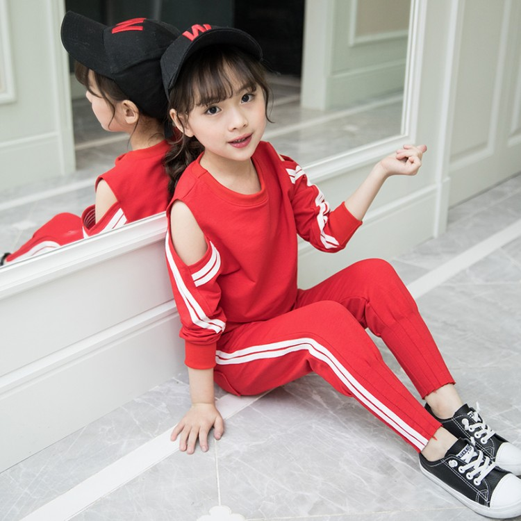 2018 New Fashion Children Clothing Set Girls Clothes t shirt+Pants 2pcs set Kids Tracksuit Spring Autumn Sport Suit toddler kids baby girl clothes fashion camouflage t shirt tops pants 2pcs outfits clothing set sport suit children tracksuit