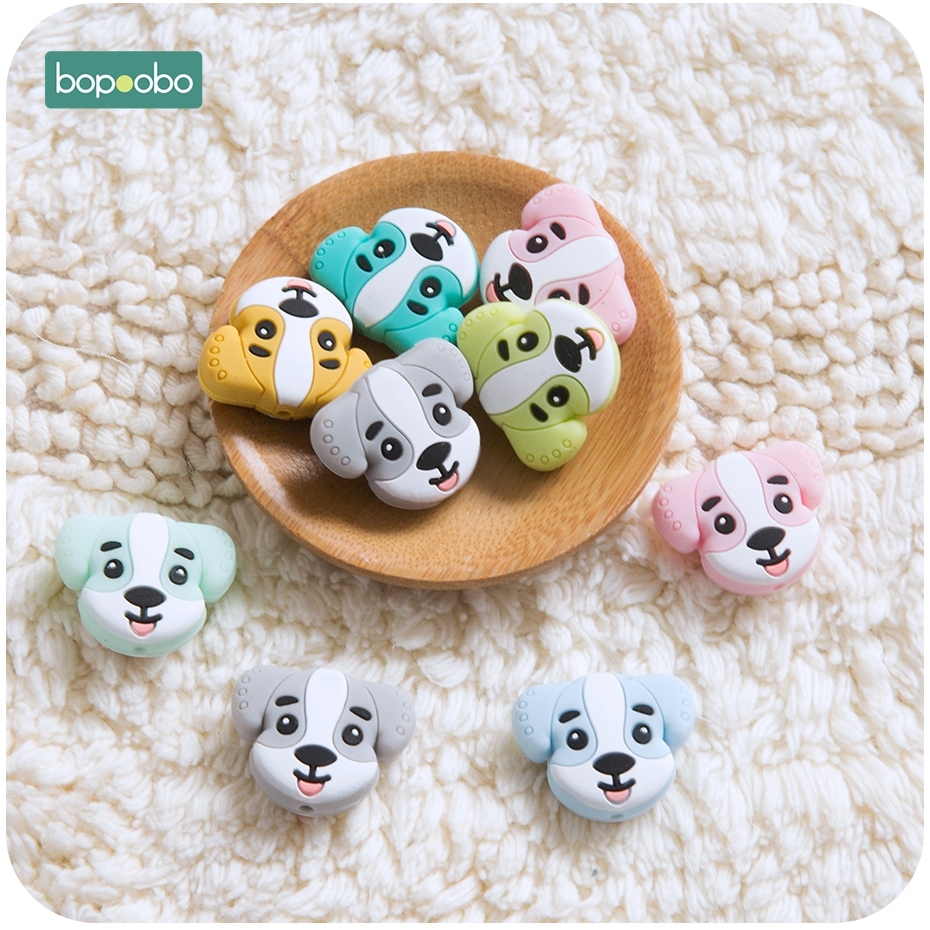 Bopoobo 3pc Silicone Teethers Mini Puppy Baby Toothing Toys Can Chew Food Grade Silicone Beads DIY Jewelry Bracelet Crib Dog Toy