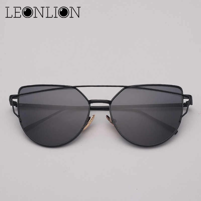 LeonLion marque concepteur oeil De chat lunettes De soleil femmes Vintage métal réfléchissant lunettes pour femmes miroir rétro Oculos De Sol Gafas