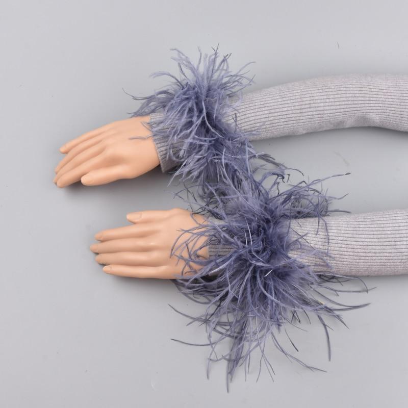 Ostrich fur Cuffs Genuine Ostrich Fur Cuff Arm Warmer Lady Bracelet Real Fur Wristband Glove Ostrich fur Cuffs(China)