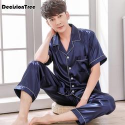 2019 летняя атласная Шелковая пижама Шорты для мужчин пижамы Мужская пижама комплект мягкая ночная рубашка для мужчин пижамы сна lounge большой